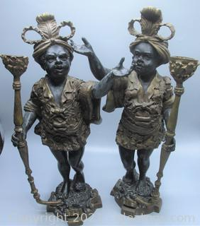 Venetian Gilt Bronze Blackamoor Candle Holders
