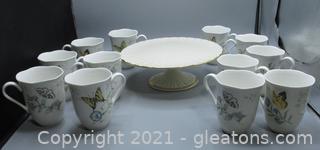 Lenox Mugs and Cake Stand