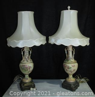 Pair of Beautiful Hand Painted Urn Style Table Lamps