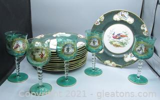 Royal Doulton Plates and Hand Painted Wine Glasses