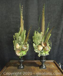 Real Feather and Grass Floral Arrangement
