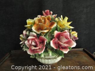 Beautiful Capodimonte Large Floral Centerpiece