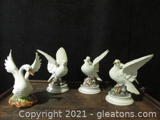 Doves and Swan Figurines