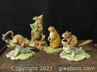 Chipmunks and Prairie Dog Figurines