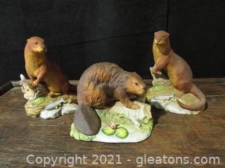 Otters and Beaver Figurine