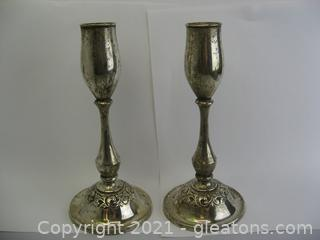 Set of 2 Towle Sterling Silver Candleholders