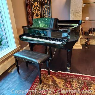 Stunning Hardman Peck Polished Ebony Baby Grand Piano and Bench