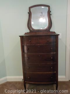Antique Chest of Drawers with Framed Beveled Mirror