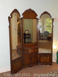 Exquisite Early 1900's Tri-Fold Dressing Mirrors with Center Shelf and One Small Drawer
