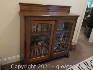 Burled Oak Storage Cabinet with Glass Door Front