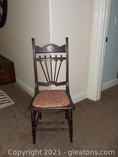 Wooden Chair with Recovered Seat Cushion
