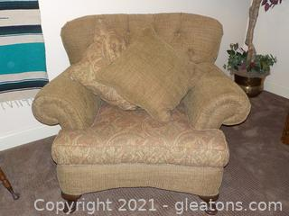 Alexvale Oversize Rolled Armchair with Tufted Back and 2 Pillows