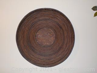 Round Rustic Wooden Inspired Wall Hanging