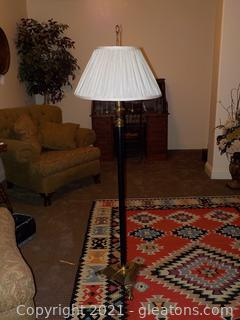 Black Floor Lamp with Double Pull Chain and Shade