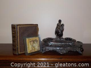 3 Piece Desk Decor Collection including a Vintage Iron Double Inkwell
