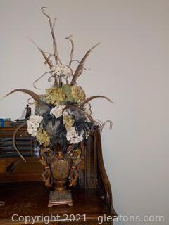 Gorgeous Flower Arrangement in Bronze Weathered Urn