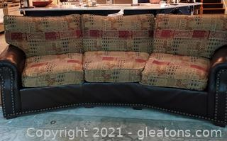 Charles Ray and Associates Brown Leather Sofa with Cushion Seat/Back and Decorative Nail Head Trim