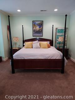 Mid Century King Size Poster Bed-Includes Mattress, 2 Part Box Springs and Bedding
