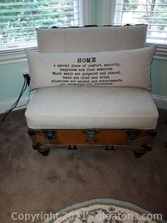 Charming Upcycled Trunk Chair with Pillow