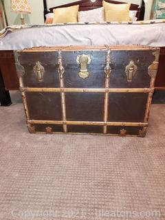 Stately Henry Likly and Co. Leather/Wood Trunk