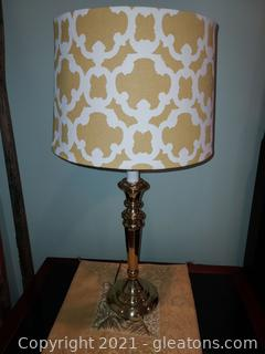 Pretty Brass Table Lamp with Art Deco Shade