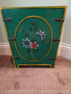 Velvet Lined Wooden Trashcan with Hand Painted Flowers