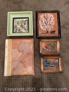 Beautiful Collection of Hand Painted Art Work & Vintage Scrapbook