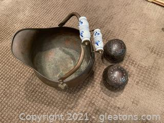 Coal Scuttle and Two  Wood & Metal Decor Balls