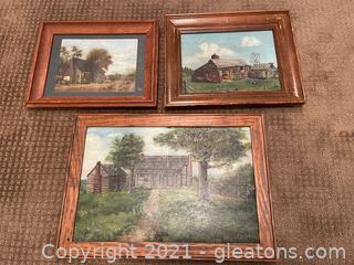 "Three ""On the Farm"" Framed Paintings"