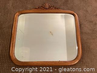 Beveled Mirror in Oak Frame