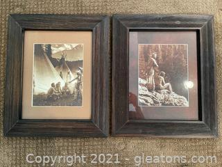 Two Pieces of Native American Inspired Framed & Matted Pictures