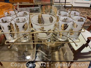 Vintage Libbey Frosted Glassware and Caddy