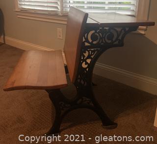 Cast Iron/Wooden Antique School Desk