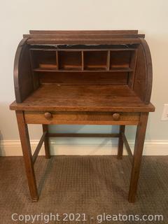 Antique Childrens Oak Roll Top Desk