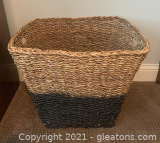 Square Woven Color Block Basket with Handles