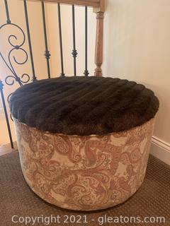 Paisley Upholstered Faux Fur Ottoman