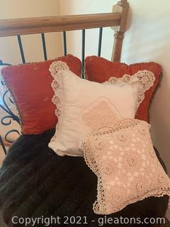 Four Beaded and Crocheted Decorative Pillows