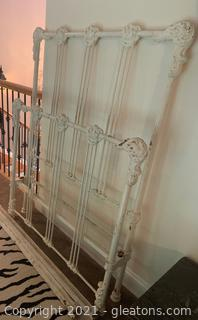 Vintage Painted and Distressed Wrought Iron Twin Bed Frame