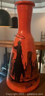 Handmade Crackled Vase with Southwestern Motif