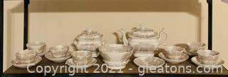 Rare Staffordshire Sepia Moss Pattern Tea Set from the 1800's