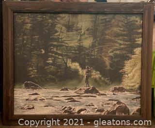 Rustic Framed Canvas of a Fly Fisherman