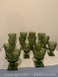 14pc Vintage Indiana Glass Green Thumbprint Collection