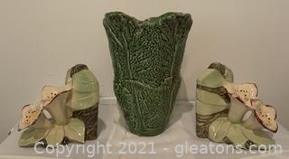 Vintage Pair of McCoy Pottery Lily Flower Bookends and Cabbage Vase