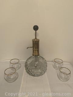 Vintage Park Industries Liquor Dispenser with Glasses