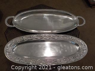 2 Pewter Oval Serving Trays
