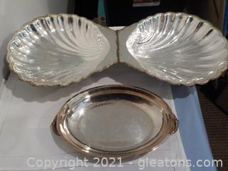 Unique Clam Shell Server and Small Serving Tray