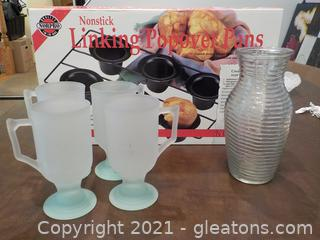 4 Vintage Indiana Glass frosted pressed glass cafe mugs and other useful Kitchenware