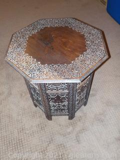 Vintage Collapsible Carved Mahogany Side Table