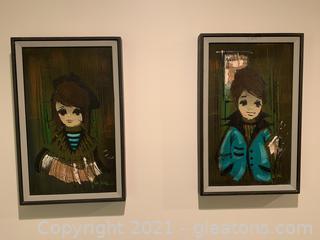 """A Pair of Vintage Signed Paintings """"Big Eyes"""" By Van Gaard"""