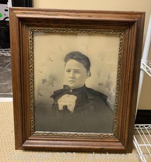 Vintage Wooden Framed Woman Print